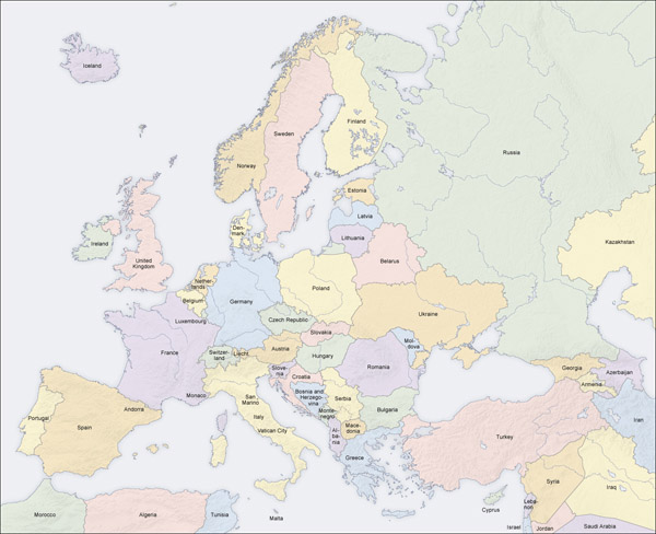 Large detailed political and relief map of Europe.