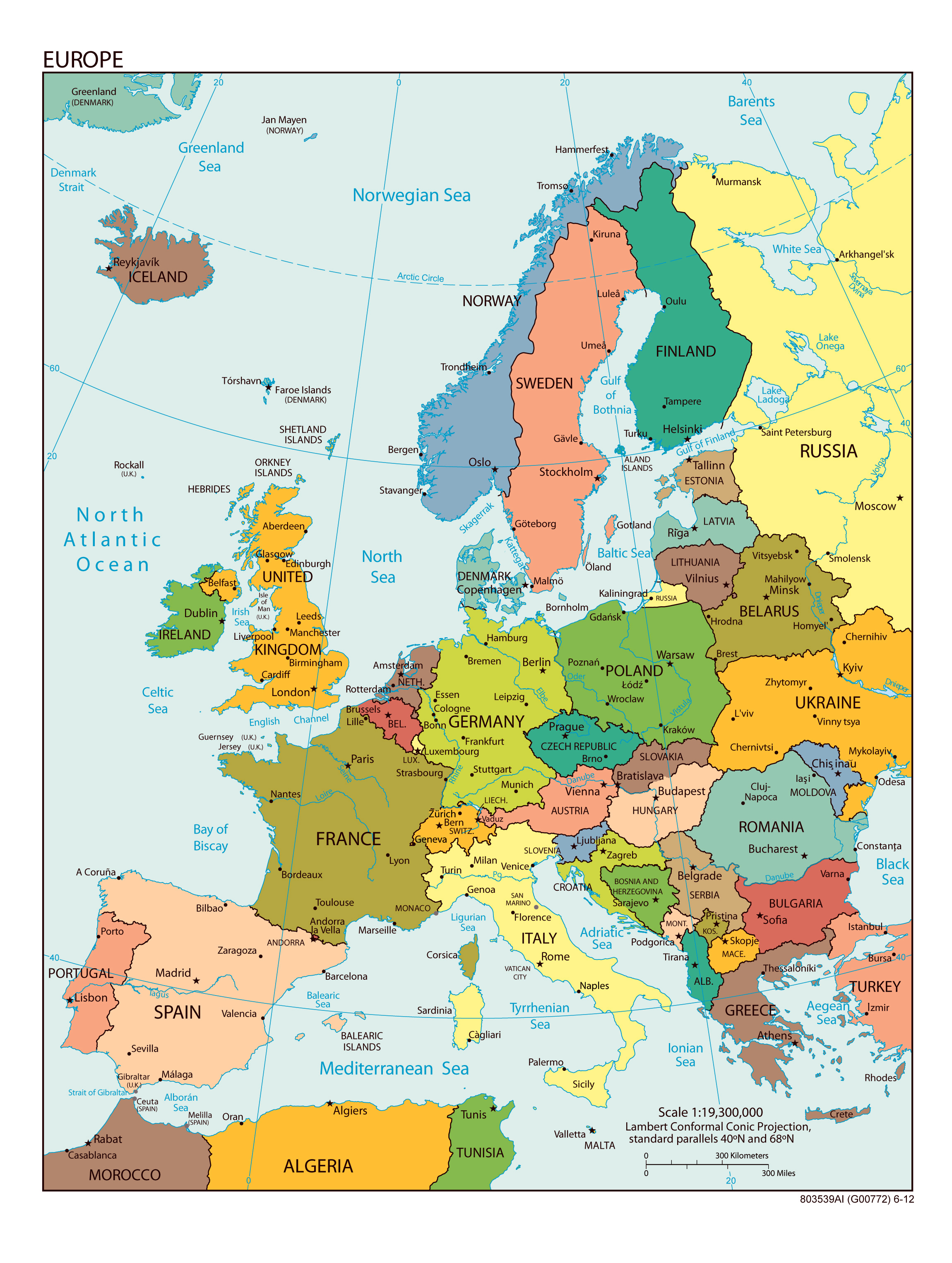 large detailed political map of europe with all capitals and major cities