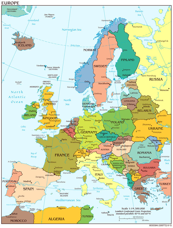 Large detailed political map of Europe with capitols and major cities.