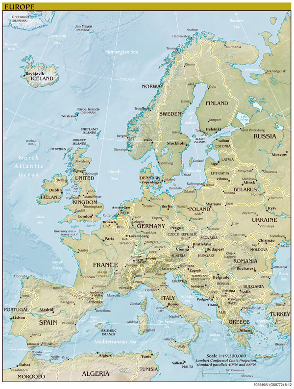 Large detailed political map of Europe with relief, capitols and major cities.