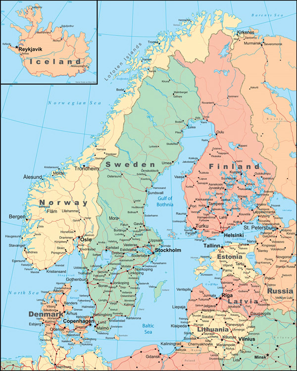 Large detailed political map of Scandinavia with roads and cities.