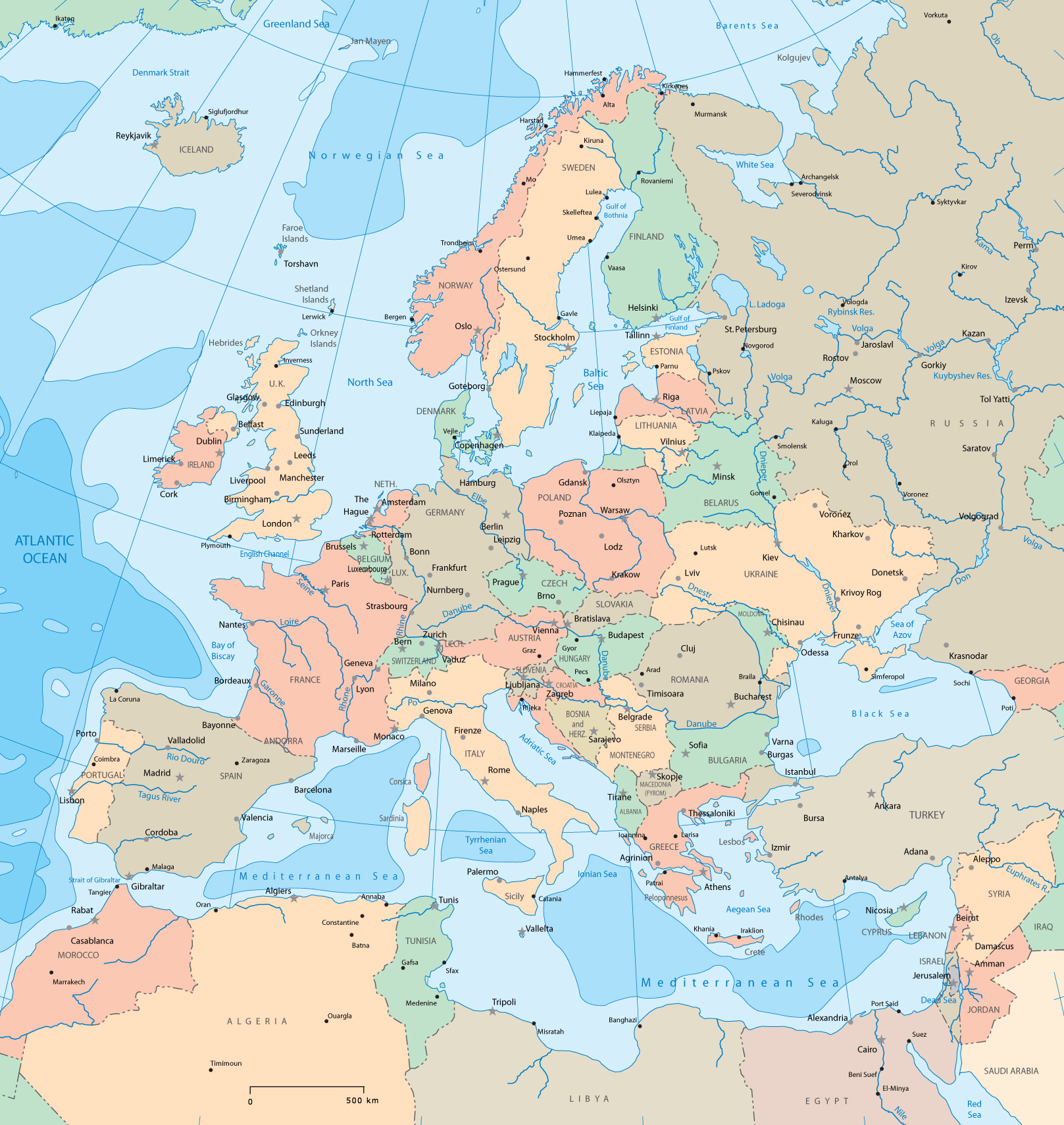 Large detailed political map of europe europe large detailed large detailed political map of europe europe large detailed political map gumiabroncs Gallery