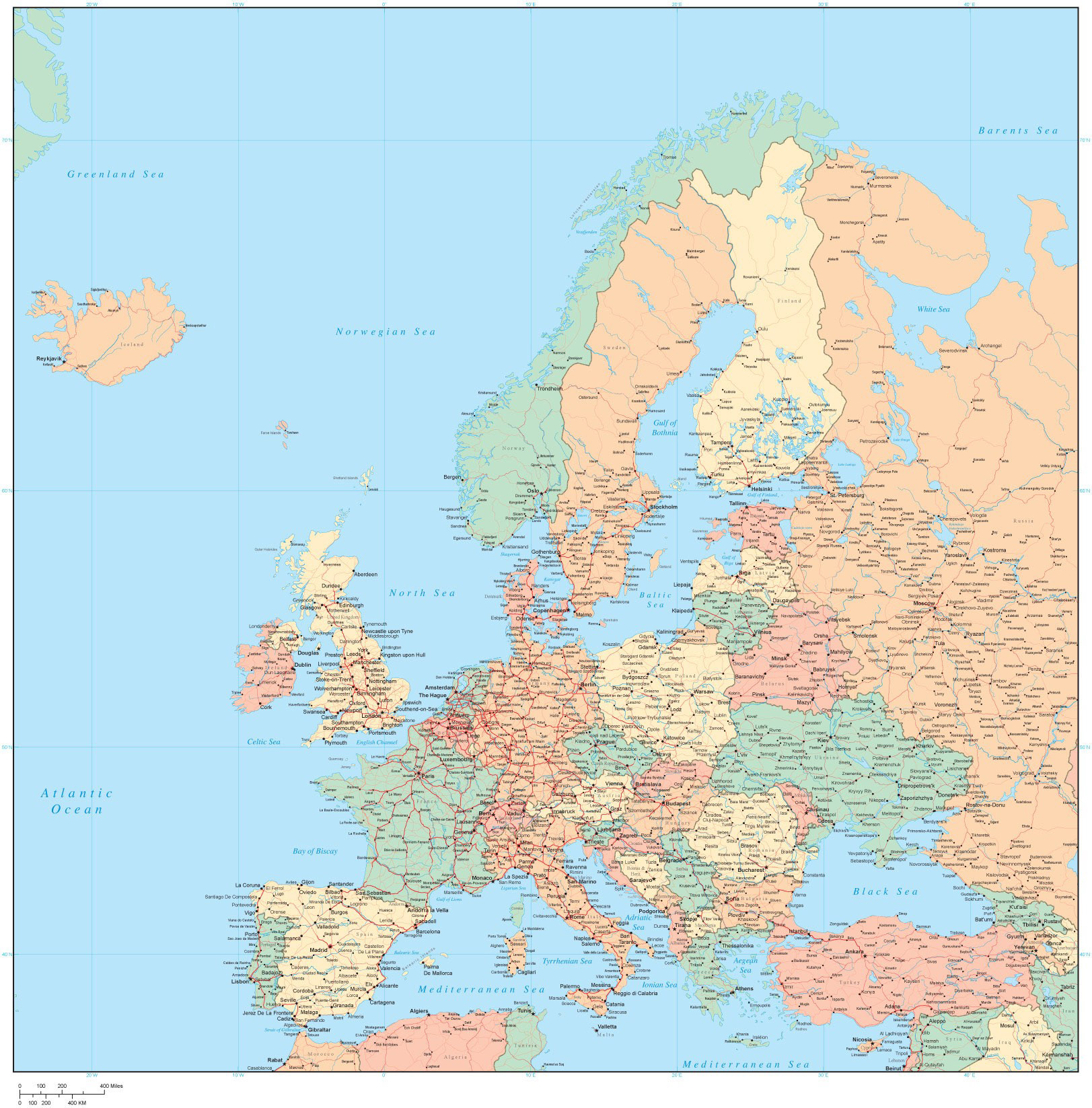 Large detailed political map of Europe with all cities and roads – Detailed Travel Map Of Europe