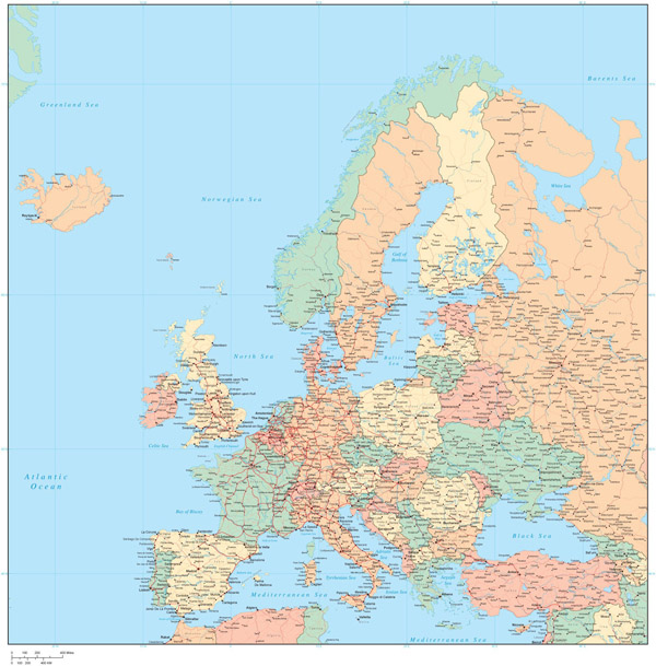 Large detailed political map of Europe with all cities and roads.