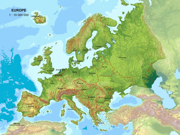 Large detailed relief map of Europe.