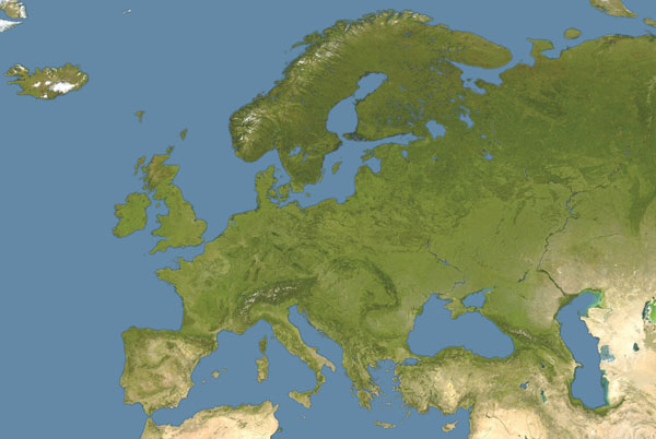 Large detailed satellite map of Europe.