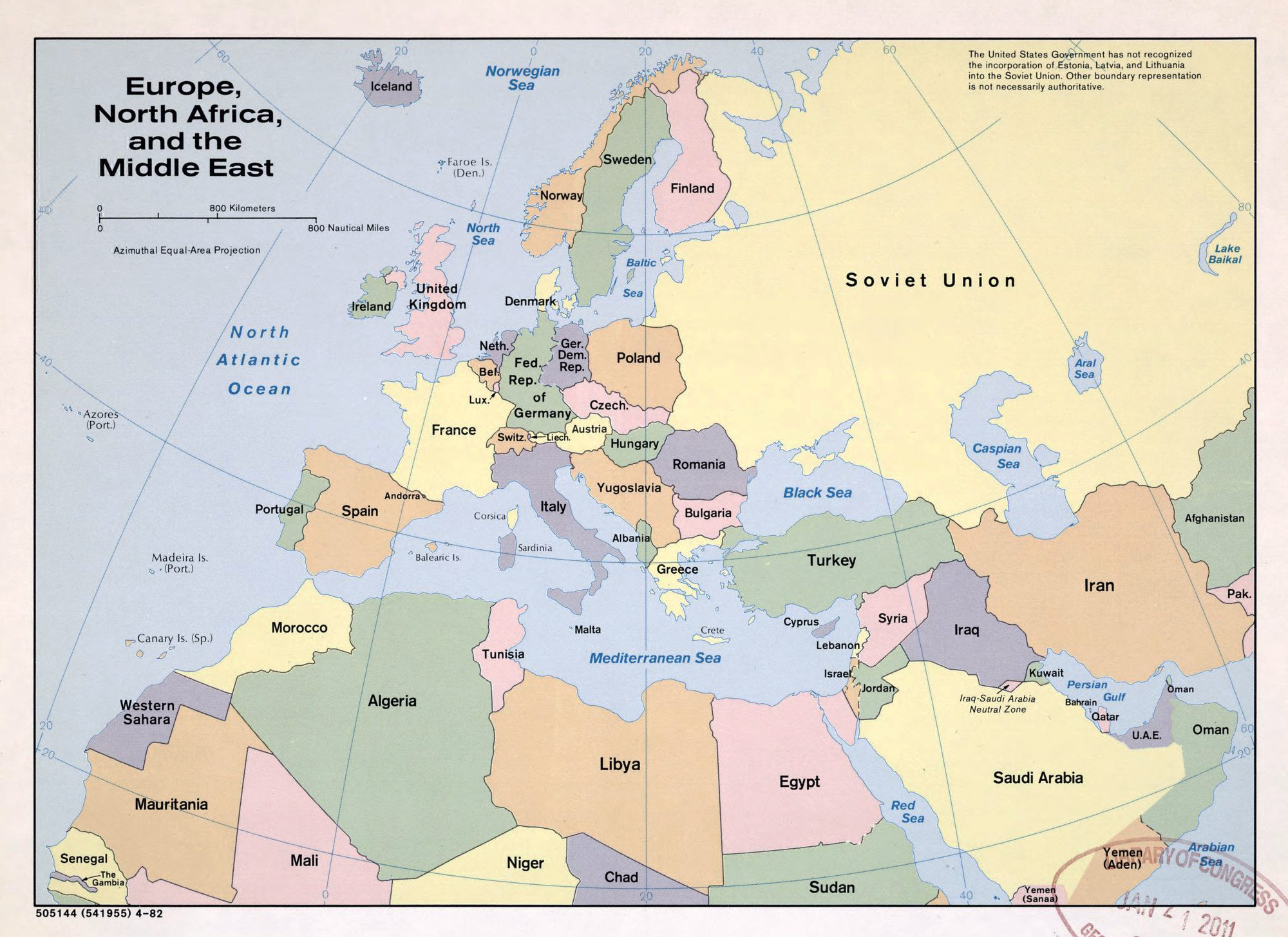 Large political map of Europe, North Africa and the Middle East ...