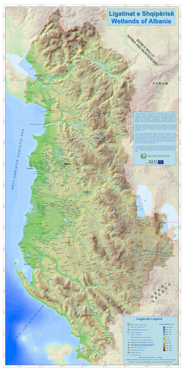 Albania wetlands map. Wetlands map of Albania.