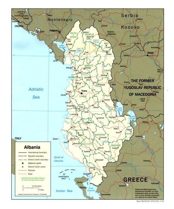 Detailed administrative and political map of Albania.