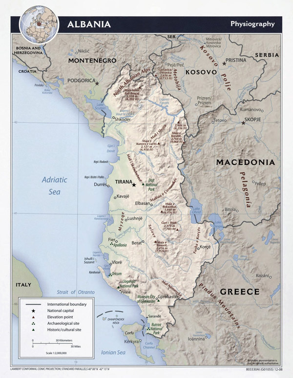 Large detailed physiography map of Albania - 2008.