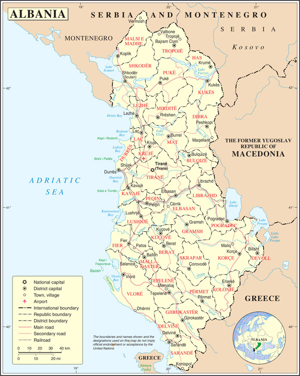 Large detailed political and administrative map of Albania with all cities, roads and airports.