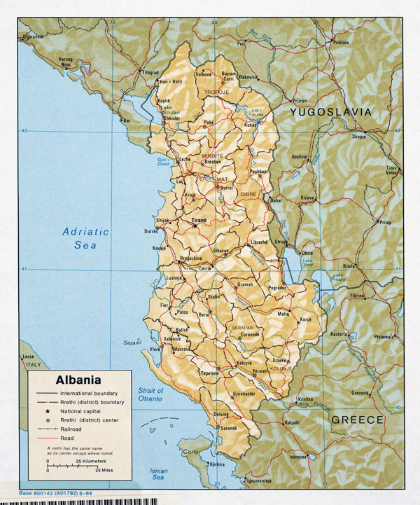 Large detailed political and administrative map of Albania with relief - 1984.