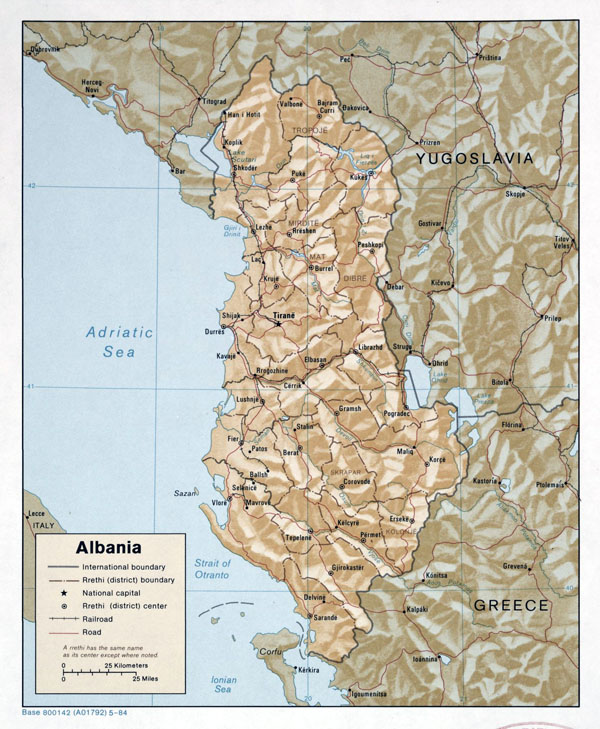 Large detailed political and administrative map of Albania with relief, roads and major cities - 1984.