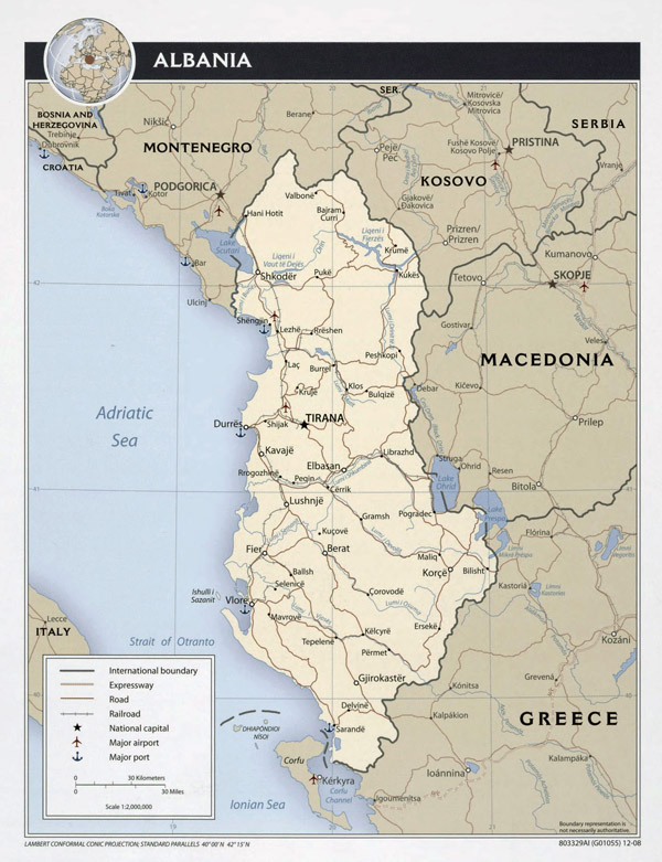 Large detailed political map of Albania with roads, major cities, airports and seaports - 2008.