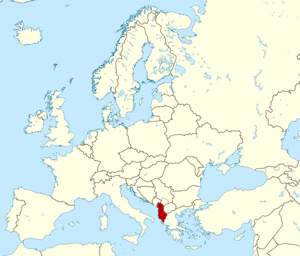 Where is located Albania on the map? Albania large location map.