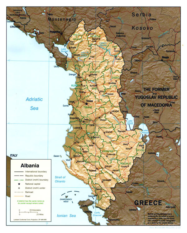 Large political and administrative map of Albania with relief - 2000.