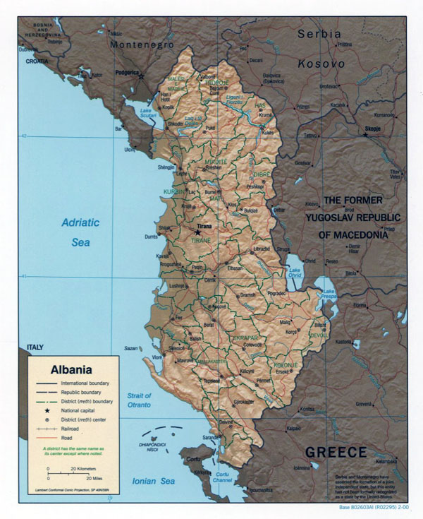 Large political and administrative map of Albania with relief, roads and major cities - 2000.