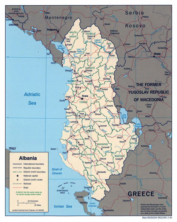 Large political and administrative map of Albania with roads and major cities - 2000.