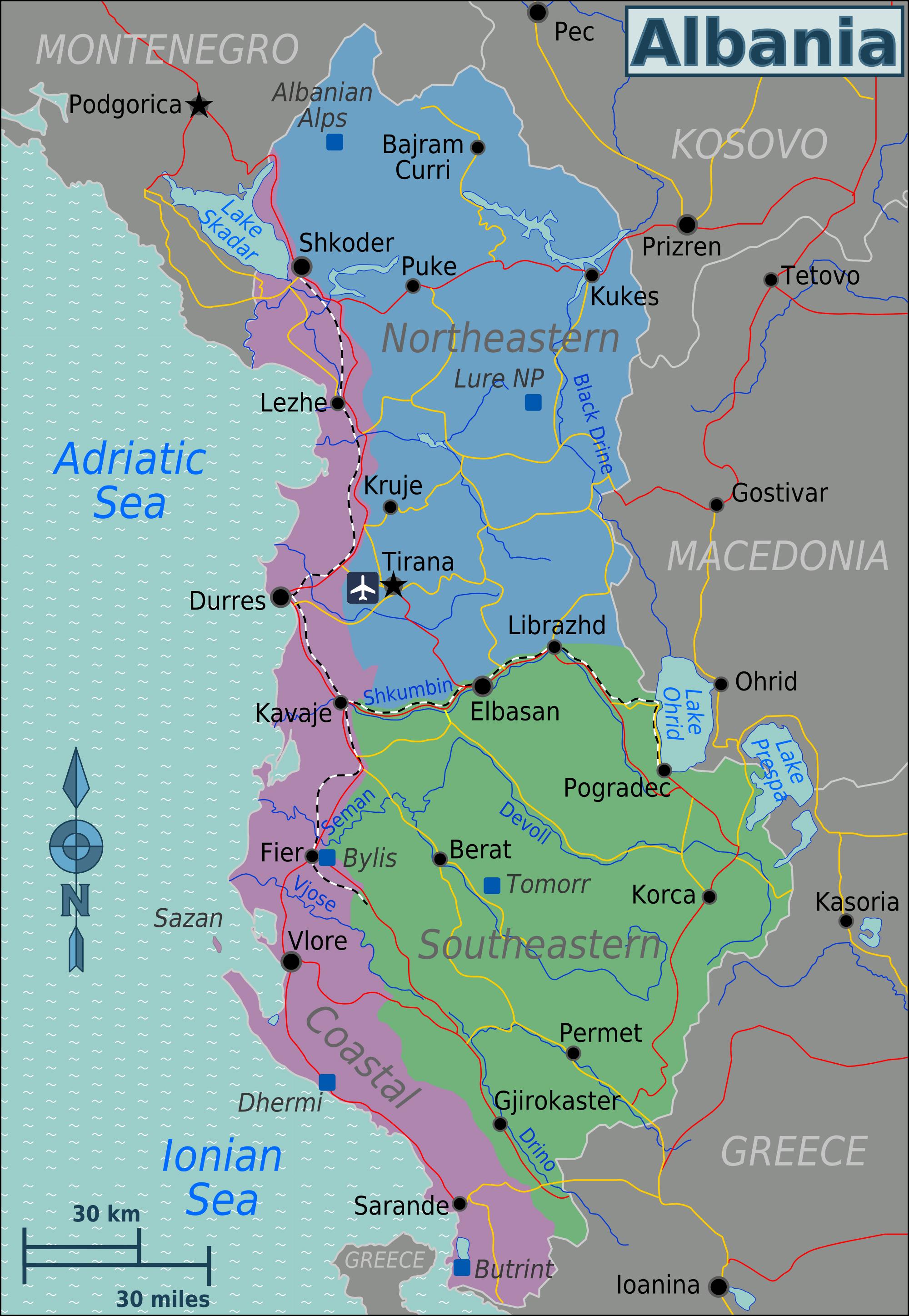 Large regions map of Albania Albania large regions map Maps