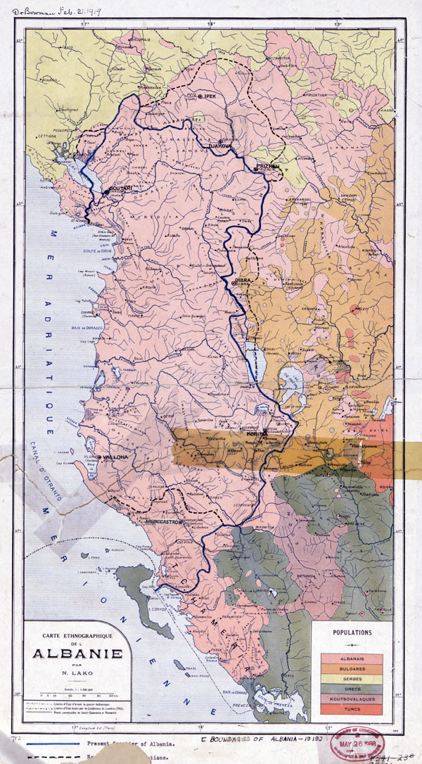 Large scale old ethnographic map of Albania - 1918.