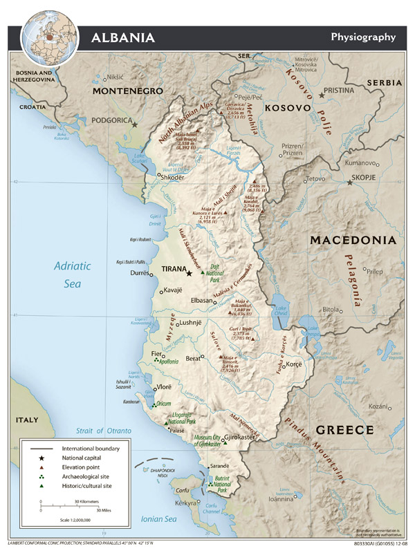 Large scale physiography map of Albania - 2008.