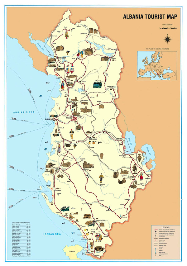 Albania large tourist map. Large tourist map of Albania.