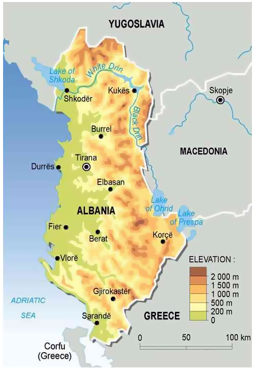 Physical Map Of Albania Albania Physical Map Vidianicom Maps - Political map of albania