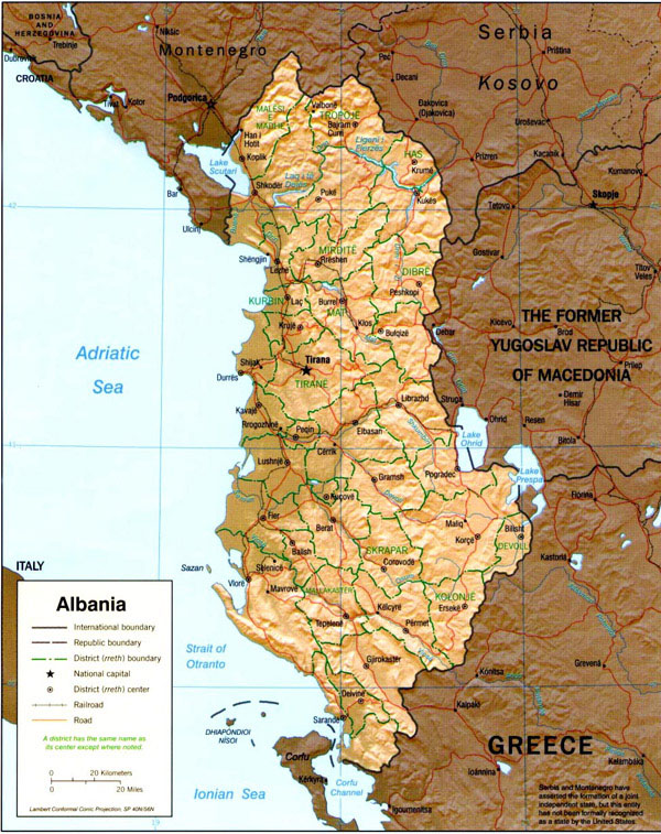 Relief and administrative map of Albania.