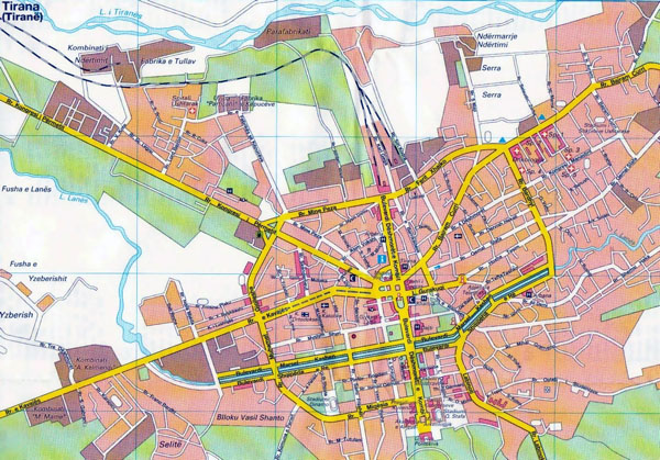 Detailed road map of Tirana.