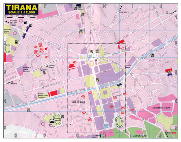 Large road map of central part of Tirana city.
