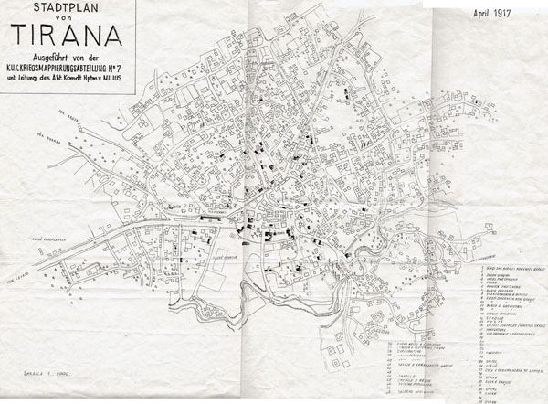 Large scale old map of Tirana - 1917. Tirana large scale old map - 1917.