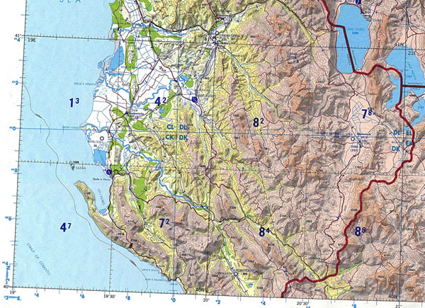 Topographical map of Albania. Albania topographical map.