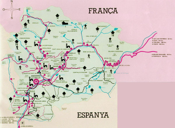 Detailed Andorra tourist map.