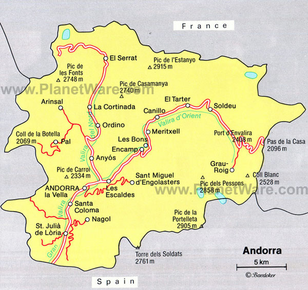 Detailed roads map of Andorra.