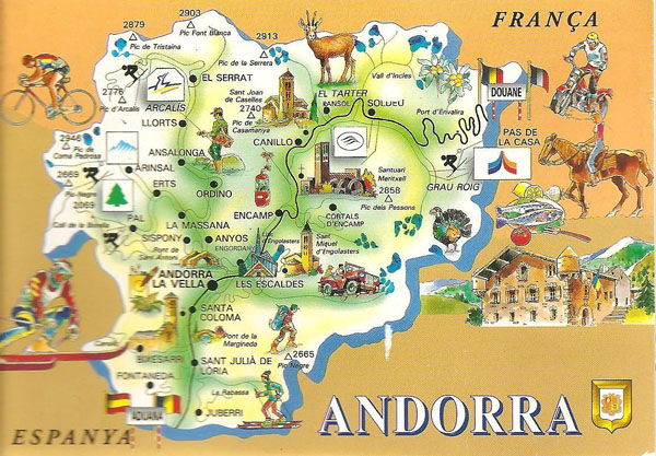 Large detailed Andorra tourist map. Andorra large detailed tourist map.