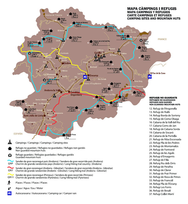 Large detailed campings map of Andorra.