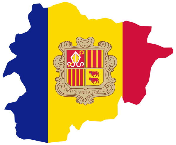 Large detailed flag map of Andorra. Andorra large detailed flag map.