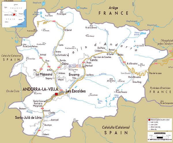 Large detailed roads map of Andorra with all cities and villages.