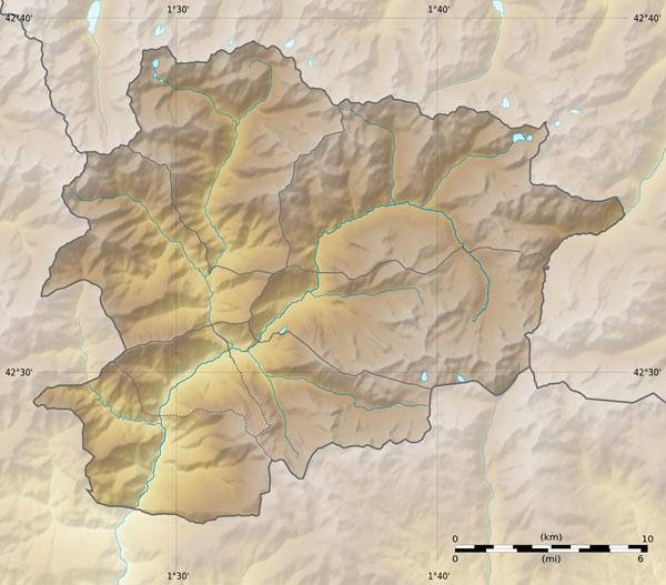 Large relief map of Andorra. Andorra large relief map.