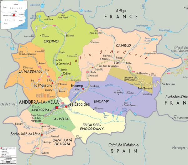 Political map of Andorra. Andorra political map.