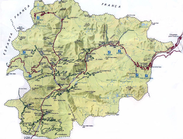 Road map of Andorra. Andorra road map.