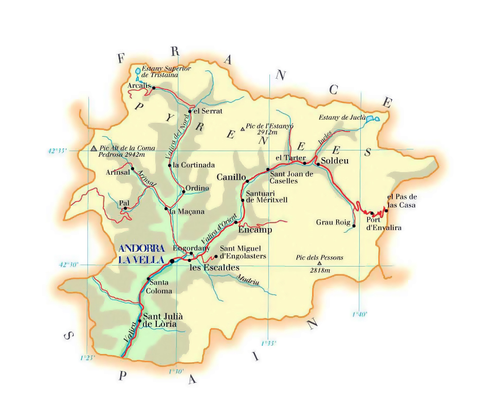 Roads and elevation map of Andorra Vidianicom Maps of all