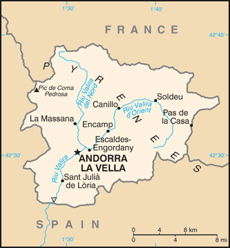Small map of Andorra. Andorra small map.