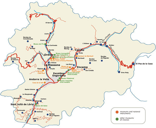 Tourist map of Andorra. Andorra tourist map.