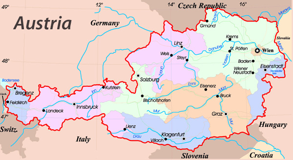Administrative map of Austria. Austria administrative map.