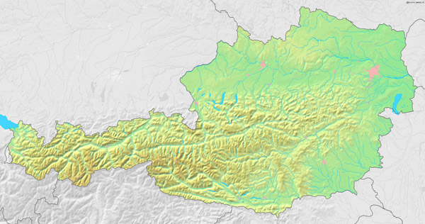 Austria detailed topographic map. Detailed topographic map of Austria.
