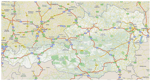 Detailed road and highways map of Austria.