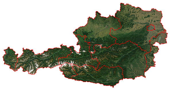 Detailed satellite map of Austria with borders of administrative divisions.