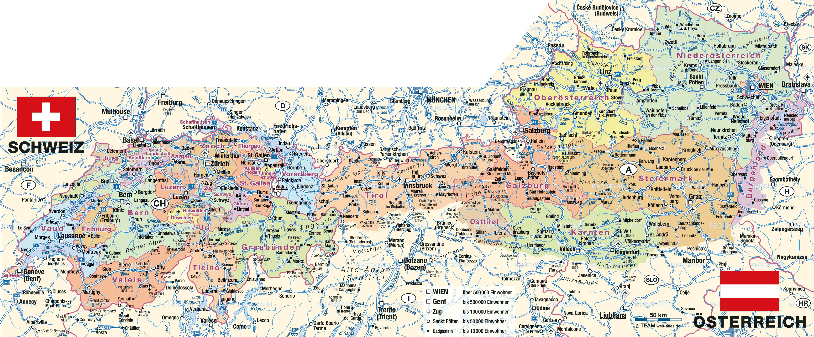 Large detailed administrative map of Austria with all roads cities