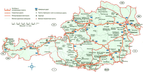 Large detailed highways map of Austria with cities and airports.